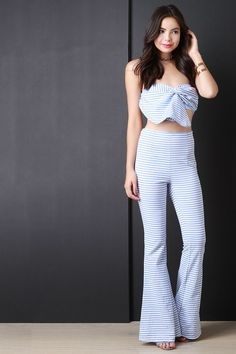 Horizontal Stripe Bell Bottom Pants