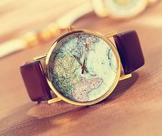 Unisex  map of the world watches in brown white by manualstorm, $1.59