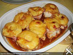 Putenfilet mit Schinken, Ananas und Käse überbacken