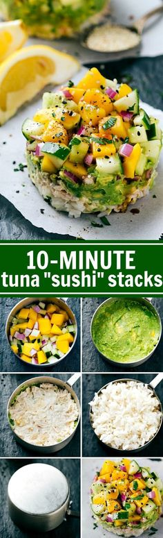 Use a CUP MEASURER to make SUSHI! Tuna Sushi Stacks -- easy, healthy, kid-friendly, and delicious plus there is a simple sriracha mayo! Recipe via chelseasmessyapro. Pescatarian Diet, Pescatarian Recipes, Seafood Recipes, Dinner Recipes, Cooking Recipes, Quoina Recipes, Dinner Ideas, How To Make Sushi, Food To Make
