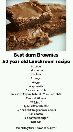Best Darn Brownies ~ 50 Year Old School Lunchroom Recipe Brownie Recipes, Cookie Recipes, Dessert Recipes, Dessert Bars, Bar Recipes, Family Recipes, Dessert Food, Cookie Desserts, Lunch Recipes