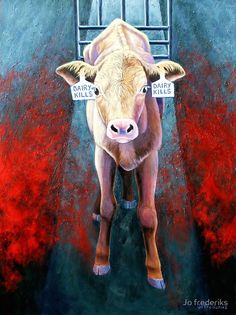 The Death of Innocence by Jo frederiks. Since they are useless in the dairy industry, male calves are forcibly taken from their mothers shortly after birth and sent to auction to be murdered for whatever small monetary profit might be made. Many still have their umbilical cords. ALL cry out for their mothers. Learn reverence for life. Live vegan.