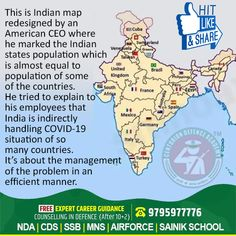 This is Indian map redesigned by an American CEO where he marked the Indian states population which is almost equal to population of some of the countries. He tried to explain to his employees that India is indirectly handling COVID-19 situation of so many countries. It's about the management of the problem in an efficient manner.   #Covid19 #StayHome #StaySafe #CoachingFromHome #coronavirusindia #coronavirus Merchant Navy, Countries, Air Force, Coaching, Army, Management, The Unit, Indian, Map