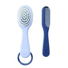 Produit 2ème âge : poils de la #brosse en nylon pour plus de douceur et #peigne avec dents arrondies pour ne pas blesser le cuir chevelu de bébé. #minéral #béaba #toilette #hygiène