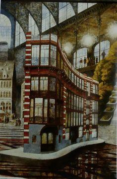 F. Martinuzzi, Maison du Peuple de Horta, ac. 50x70, 1990