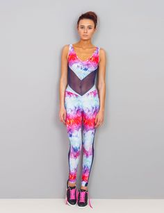 Neon Smoke Catsuit. Catsuit. Bold Pink. 80s. Festival. Tie dye. Panelling. By Burnt Soul