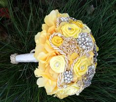 """Bella Bouquet. Large 8"""" Yellow Hydrangeas brooch Bouquet and Boutonniere by AntonellaMia, $215.00"""