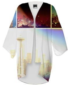 Funky Seattle Space Needle Collage Kimono from Print All Over Me