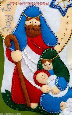 icu ~ Bucilla Joy To The World ~ Felt Christmas Stocking Kit Nativity Scene DIY Christmas Stocking Kits, Felt Christmas Stockings, Felt Stocking, Felt Christmas Decorations, Felt Christmas Ornaments, Christmas Sewing, Christmas Nativity, Christmas Crafts, Christmas Wreaths