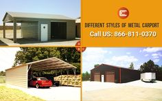 Browse our divers styles of Metal Carports at Carport Central. Steel Carports, Carport Kits, Different Styles, Buildings, Shed, Outdoor Structures, Metal, Outdoor Decor