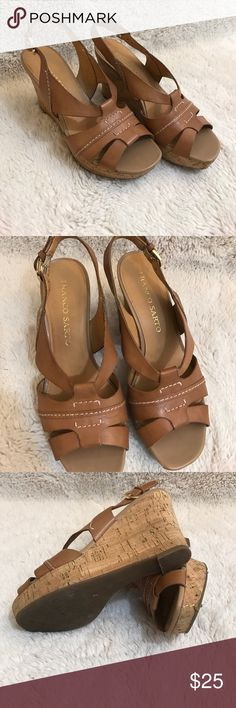 Franco Sarto Heels Size 6.5 Adorable tan wedges! Small imperfection on toe of shoe, as pictured. Otherwise in great condition! Worn only a handful of times. Ask all questions prior to purchase •  bundle to save •  willing to consider any reasonable offer  <3 Franco Sarto Shoes Wedges