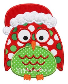 696 Christmas Owl Machine Embroidery Applique Design