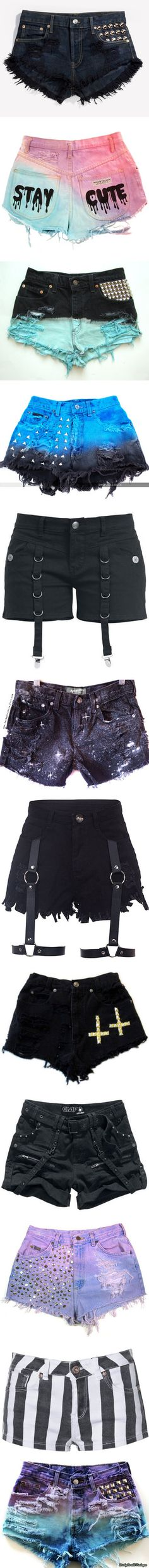 pastel goth shorts by pastel-goth-for-life on Polyvore featuring women's fashion, shorts, bottoms, pants, distressed shorts, ripped studded shorts, destroyed shorts, vintage studded shorts, vintage distressed shorts and short