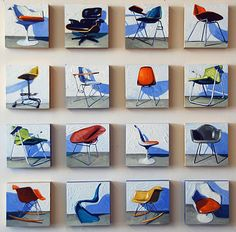 "The culmination of the series of paintings is a grid of 64 chair portraits, each 8"" x 8."" Titled Circa, the grid was conceived to be dispersed as individual chairs, sets, or groupings similar to the way in which chairs find their way into people's lives."