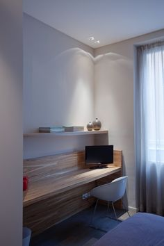 Furniture. apartment study room design with built in wooden laptop desk and floating shelf also white fiberglass chairs feat white curtain. Remarkable Floating Laptop Desk For Small Space Interior Design