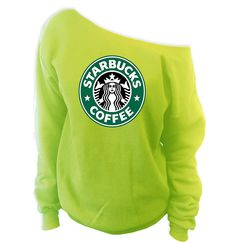 Starbucks Off-The-Shoulder Wideneck Slouchy Sweatshirt