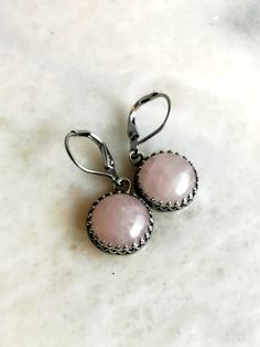 Silver Rose Quartz Earrings, Pink Quartz Gemstone Jewelry, Hypoallergenic Steel Leverbacks, Hand Made Round Light Pink Earrings by GemsByKelley on Etsy