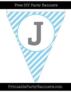Baby Blue and White Pennant Diagonal Striped Capital Letter J