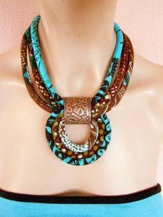 Collier turquoise / long collier tissu par nad205 sur Etsy