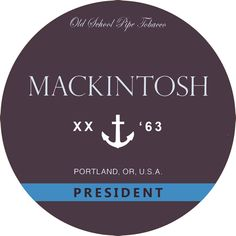 Pipe tobacco Mackintosh President label