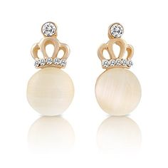Crown Earrings For Teen Girls - Gold Plated Crown with Rhinestones and Cream Colored Body by SmitCo LLC