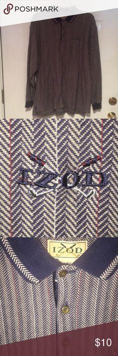 Izod Long Sleeve Golf Shirt Izod Long Sleeve Golf Shirt. Beautiful herringbone pattern. Collar is trimmed in matching pattern. Three button closure. Izod Shirts Polos