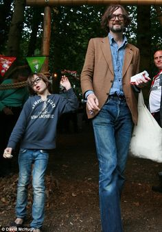 Mini-me: Jarvis Cocker was joined by his six-year-old son Albert at the Latitude festival in Suffolk yesterday