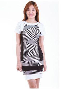 Myrcella Monochrome Color Block Shift Dress