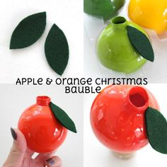 Apple and orange fruit christmas glass bauble ornament