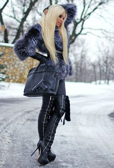 All black. Fur and boots. Love it.