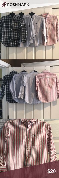 Bundle of boys button down shirts Four boys button down dress shirts size 7.  The red and white is Izod brand and the three blue and chaps brand.  There's a small stain on blue and white as seen in last picture. Shirts & Tops Button Down Shirts