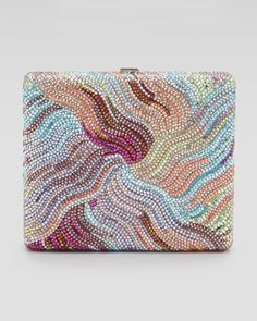 'Bay Breeze Striped Square Crystal Clutch Bag by Judith Leiber'