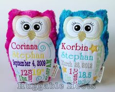 Huggable Hoots Birth Announcement Owls
