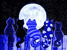 1 kitty for each Pearl!   (Full Moon Blues Cats Painting  - Nick Gustafson)