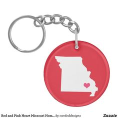 Red and Pink Heart Missouri Home State Double-Sided Round Acrylic Keychain