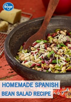 This Homemade Spanish Bean Salad is a great dish to serve as a simple lunch or as side. Dressed in oil, lemon, and manchego cheese, this lighter option from Kroger's Taste of Spain is the perfect recipe to enjoy in the afternoon. Plus, it takes just 15 minutes to make!