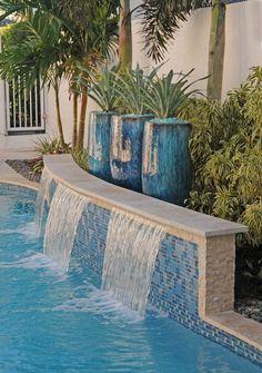 Landscape Design Expert Boca Raton – Pamela Crawford & Associates – Famous Last Words Swimming Pool Tiles, Swimming Pools Backyard, Swimming Pool Designs, Backyard Pool Landscaping, Backyard Pool Designs, Landscaping Design, Residential Landscaping, Tropical Landscaping, Pool Spa