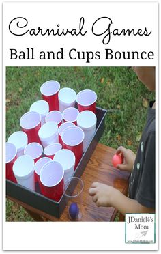Carnival Games: Ball and Cups Bounce- This fun game is part of a series of five posts on games for carnival, fair or parties. Carnival Activities, Homemade Carnival Games, Carnival Games For Kids, Carnival Themes, Fall Carnival, Backyard Carnival, Carnival Wedding, Carnival Birthday, Circus Theme