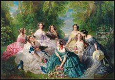 Franz Xaver Winterhalter - The Empress Eugénie Surrounded by her Ladies in Waiting // Las Bistecs - Señoras bien Franz Xaver Winterhalter, Victorian Paintings, Victorian Art, Victorian Women, Victorian Fashion, Etiquette Vintage, Poster Size Prints, Art Prints, Lady In Waiting