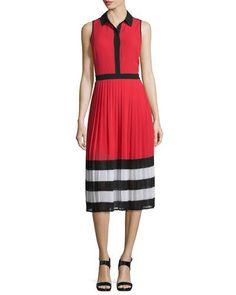 TC9NE MICHAEL Michael Kors Billerly Striped Pleated A-Line Midi Dress, Red Blaze