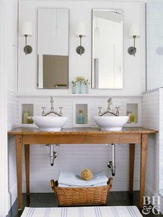 Make your own bathroom vanity using a flea market find or upcycled piece of furniture. Get inspired by these bathroom vanities that look amazing with just a new coat of paint and some fresh hardware. #bathroom #bathroomdecor #diy #bathroomvanity