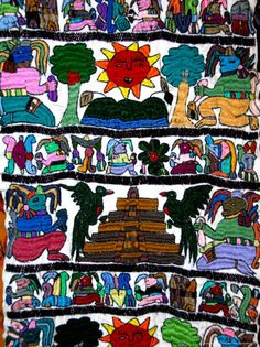 Guatamalean children painting. Embroidery.