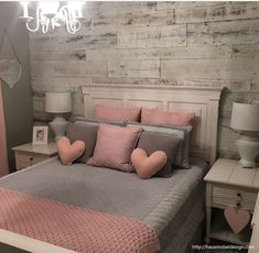 43 cute and girly bedroom decorating tips for girl 35 Pink Bedroom Decor, Pink Bedrooms, Apartment Bedroom Decor, Cozy Bedroom, Bedroom Inspo, Bedroom Bed, Master Bedroom, Bedroom Wall Decorations, Bedroom Furniture