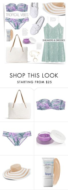 """""""Tropical Vibes"""" by katrinaalice ❤ liked on Polyvore featuring See by Chloé, G.H. Bass & Co., Victoria's Secret, rms beauty, Vera Bradley and Supergoop!"""