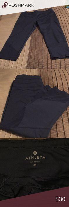ATHLETA SONAR MESH CAPRI PANTS- GREY-SIZE M Athleta Sonar Mesh Capri Pants with Mesh Accent on sides. Gorgeous on! Draw string inside waist. Athleta Pants Capris