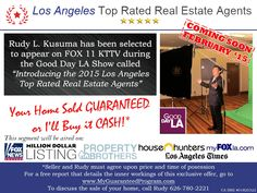 "Our team has been selected as a top rated Real Estate Agent to be featured in the segment airing on FOX 11 KTTV during the Good Day LA Show called ""Introducing the 2015 Los Angeles Top Rated Real Estate Agents""..."