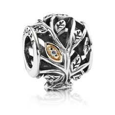 Pandora Black Friday 2015 Silver 14ct Gold Tumbling Leaves Charm Clearance Deals PDR781318CZ