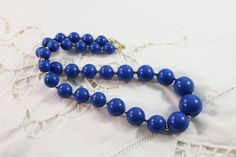 Nice Blue and Gold Tone Bead Necklace by amyrigs on Etsy