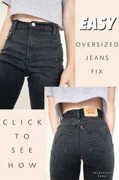 From size 16 to size 2 ~ click to see my EASY method to take in oversized jeans! #summerfashion #denimfashion #upcycledclothes #upcyclediy #easydiyfashion #thriftstorefinds #thriftedfashion #sewing #sewingupcycle #frayedhem #recycledclothes #sustainablefashion #cheapdiyfashion #diyclothes #denimfashion #denimstreetwear #summerstreetwear #streetwear #levis #takeinjeans