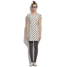 Tailored Minidress in Black Dot  I love polka dots! So preppy! Love this dress for winter and spring... Dress it up or dress it down!
